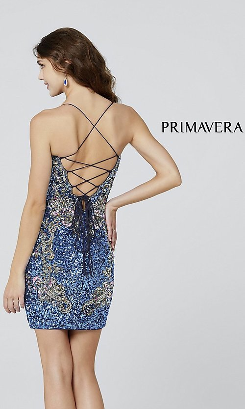 Image of short sequin corset-back formal homecoming dress. Style: PV-21-3301 Back Image