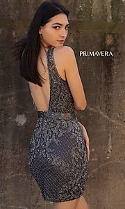 Image of beaded short tight homecoming dress with open back. Style: PV-21-3312 Detail Image 2