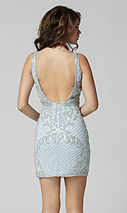 Image of beaded short tight homecoming dress with open back. Style: PV-21-3312 Back Image