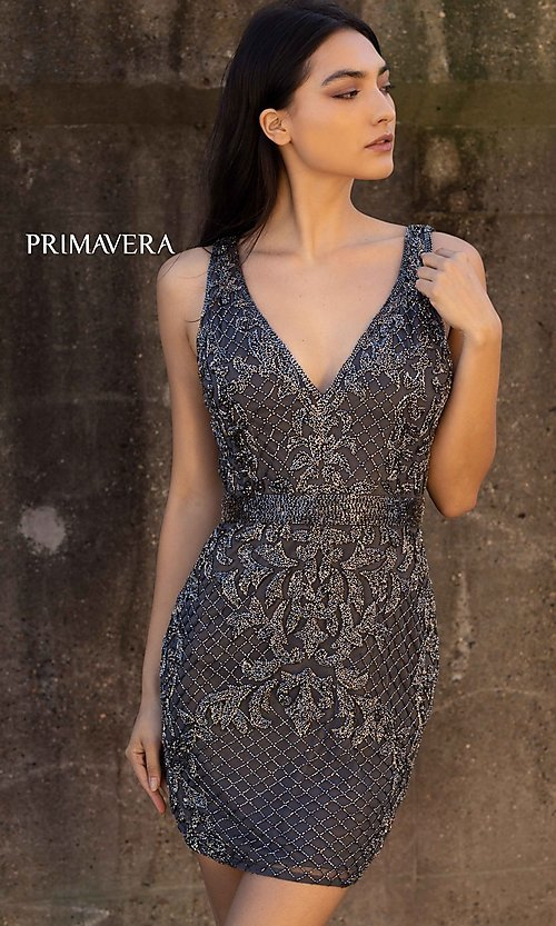 Image of beaded short tight homecoming dress with open back. Style: PV-21-3312 Detail Image 1
