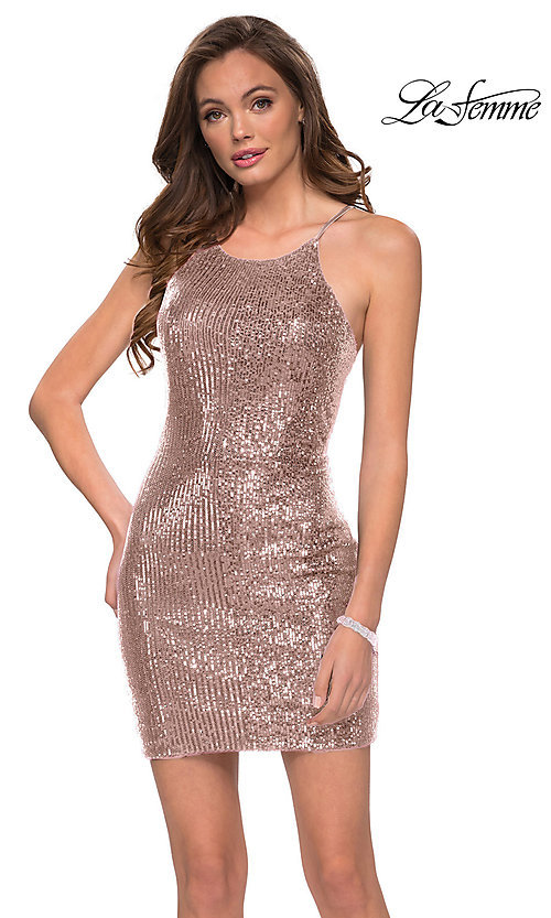 Image of short sequin homecoming party dress by La Femme. Style: LF-21-29276 Detail Image 1