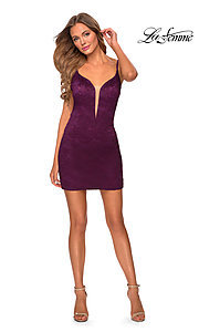 Image of short La Femme backless lace homecoming dress. Style: LF-21-29297 Front Image