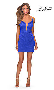 Image of short La Femme backless lace homecoming dress. Style: LF-21-29297 Detail Image 1