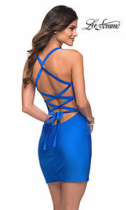 Image of tight strappy-back short La Femme homecoming dress. Style: LF-21-29306 Front Image