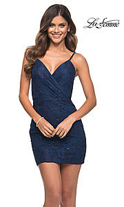 Image of navy blue lace short La Femme homecoming dress. Style: LF-21-29309 Front Image