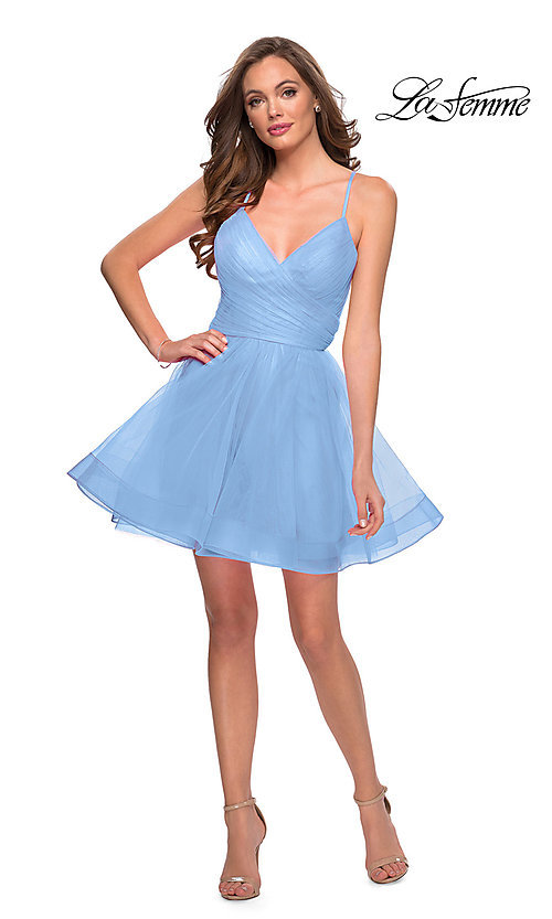 Image of strappy-back short fit-and-flare homecoming dress. Style: LF-21-29364 Front Image
