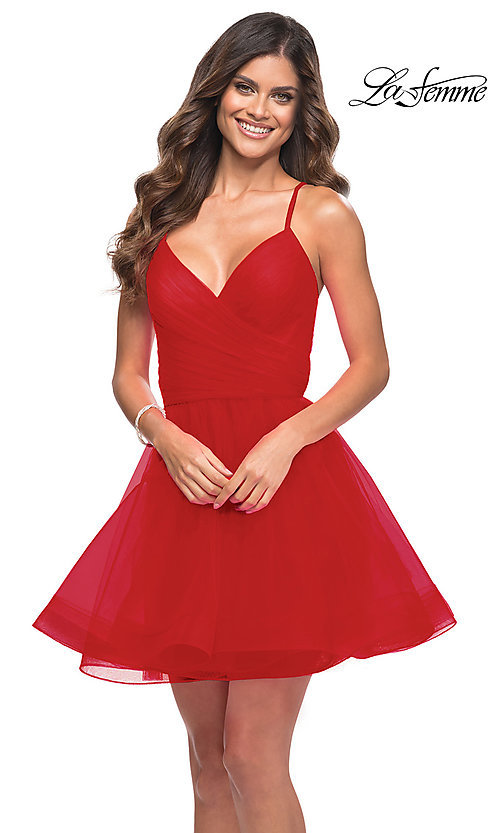 Image of strappy-back short fit-and-flare homecoming dress. Style: LF-21-29364 Detail Image 1