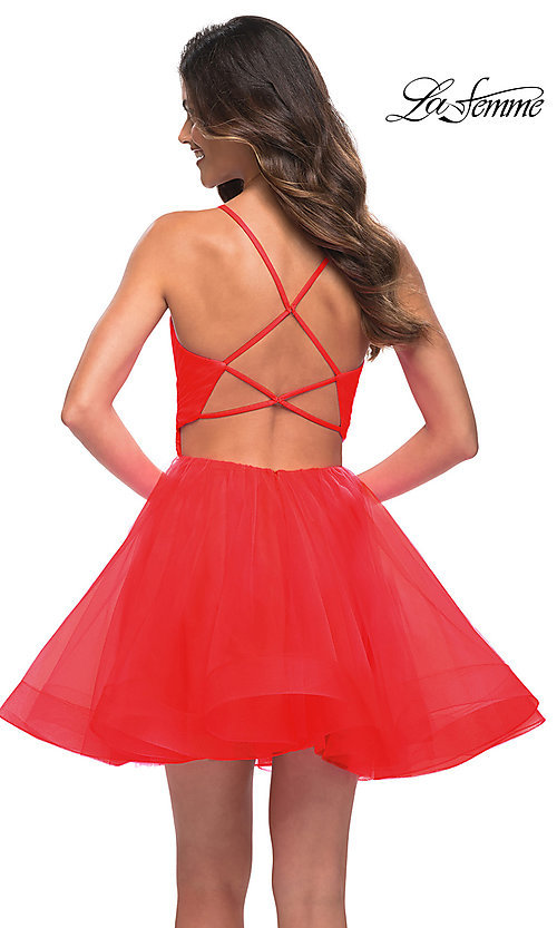Image of strappy-back short fit-and-flare homecoming dress. Style: LF-21-29364 Back Image