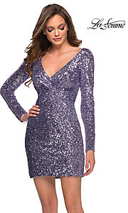Image of long sleeve short sequin front-knot hoco dress. Style: LF-21-29390 Detail Image 1