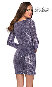 Image of long sleeve short sequin front-knot hoco dress. Style: LF-21-29390 Back Image