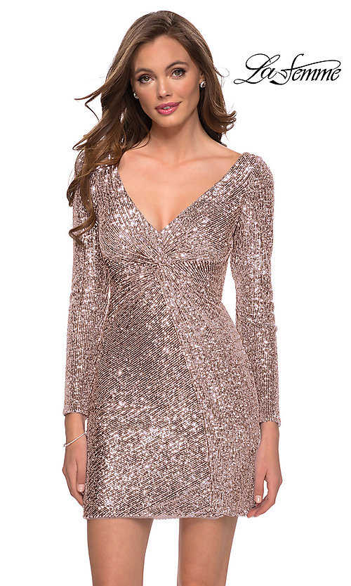 Image of long sleeve short sequin front-knot hoco dress. Style: LF-21-29390 Front Image
