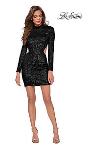 Image of backless La Femme short sequin homecoming dress. Style: LF-21-29406 Detail Image 2