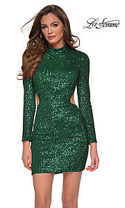 Image of backless La Femme short sequin homecoming dress. Style: LF-21-29406 Detail Image 1