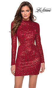 Image of backless La Femme short sequin homecoming dress. Style: LF-21-29406 Front Image