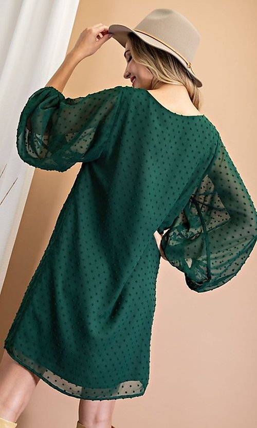 Image of Swiss dot short shift party dress with sleeves. Style: LAS-EES-21-DK4514 Detail Image 2