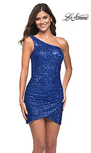 Image of short one-shoulder sequin homecoming party dress. Style: LF-21-29631 Front Image