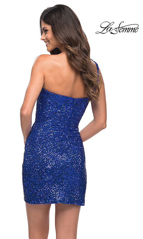 Image of short one-shoulder sequin homecoming party dress. Style: LF-21-29631 Back Image