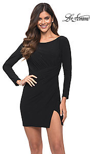 Image of backless short black party dress by La Femme. Style: LF-21-30065 Front Image