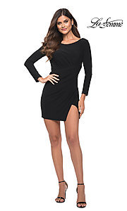 Image of backless short black party dress by La Femme. Style: LF-21-30065 Detail Image 1