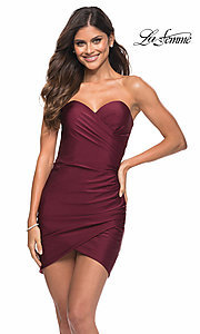 Image of strapless sweetheart short La Femme party dress. Style: LF-21-30076 Front Image