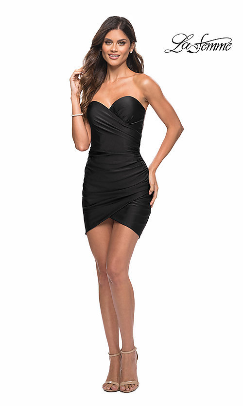 Image of strapless sweetheart short La Femme party dress. Style: LF-21-30076 Detail Image 2