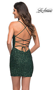Image of sequin short La Femme homecoming party dress. Style: LF-21-30104 Back Image