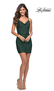 Image of sequin short La Femme homecoming party dress. Style: LF-21-30104 Detail Image 3