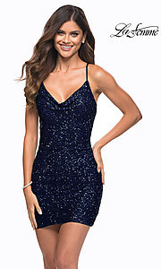 Image of sequin short La Femme homecoming party dress. Style: LF-21-30104 Detail Image 1