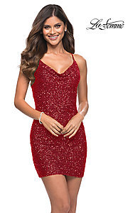 Image of sequin short La Femme homecoming party dress. Style: LF-21-30104 Detail Image 2