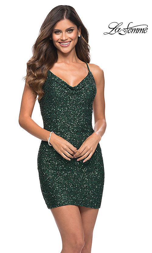 Image of sequin short La Femme homecoming party dress. Style: LF-21-30104 Front Image