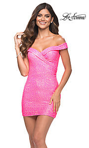 Image of neon pink sequin off-the-shoulder homecoming dress. Style: LF-21-30244 Front Image