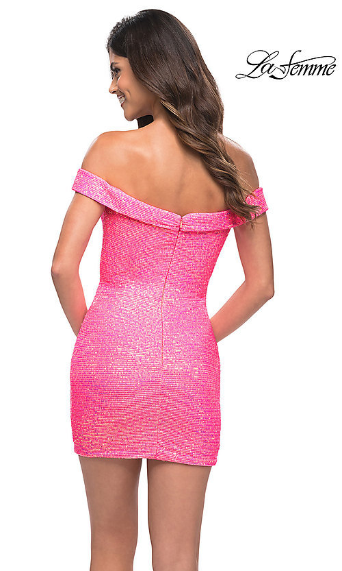 Image of neon pink sequin off-the-shoulder homecoming dress. Style: LF-21-30244 Back Image