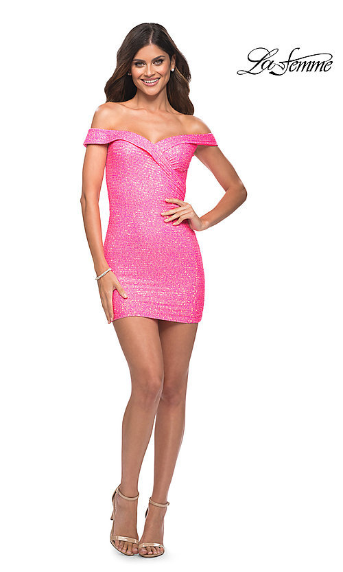 Image of neon pink sequin off-the-shoulder homecoming dress. Style: LF-21-30244 Detail Image 1