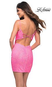 Image of La Femme short bright pink sequin homecoming dress. Style: LF-21-30246 Back Image