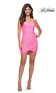 Image of La Femme short bright pink sequin homecoming dress. Style: LF-21-30246 Detail Image 1