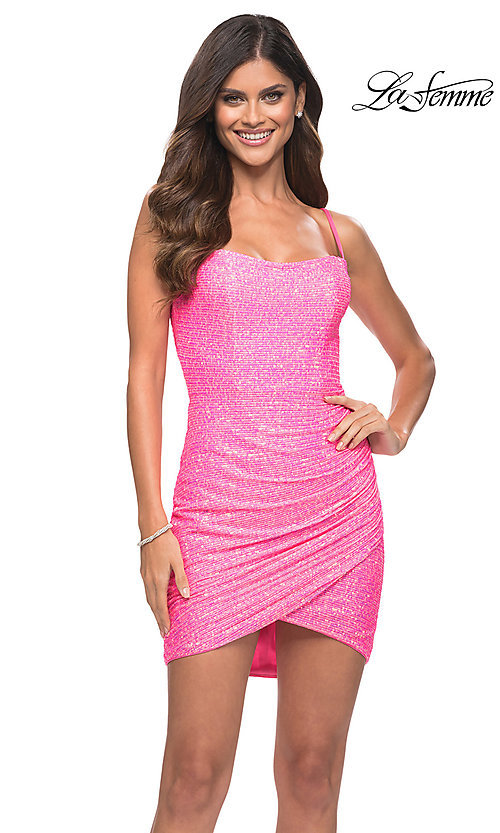 Image of La Femme short bright pink sequin homecoming dress. Style: LF-21-30246 Front Image