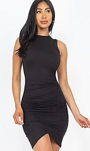 Image of ruched sleeveless short casual mini party dress. Style: LAS-CAP-21-BD2523 Front Image