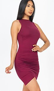 Image of ruched sleeveless short casual mini party dress. Style: LAS-CAP-21-BD2523 Detail Image 2