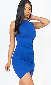 Image of ruched sleeveless short casual mini party dress. Style: LAS-CAP-21-BD2523 Detail Image 7