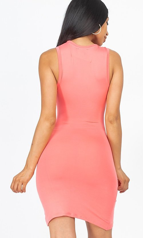 Image of ruched sleeveless short casual mini party dress. Style: LAS-CAP-21-BD2523 Back Image