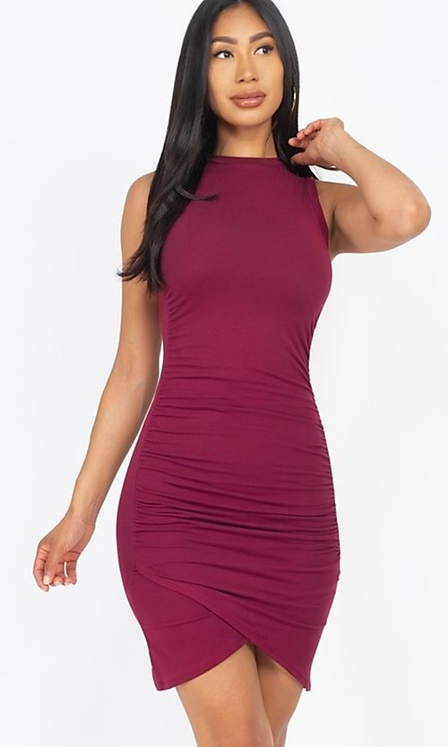Image of ruched sleeveless short casual mini party dress. Style: LAS-CAP-21-BD2523 Detail Image 3