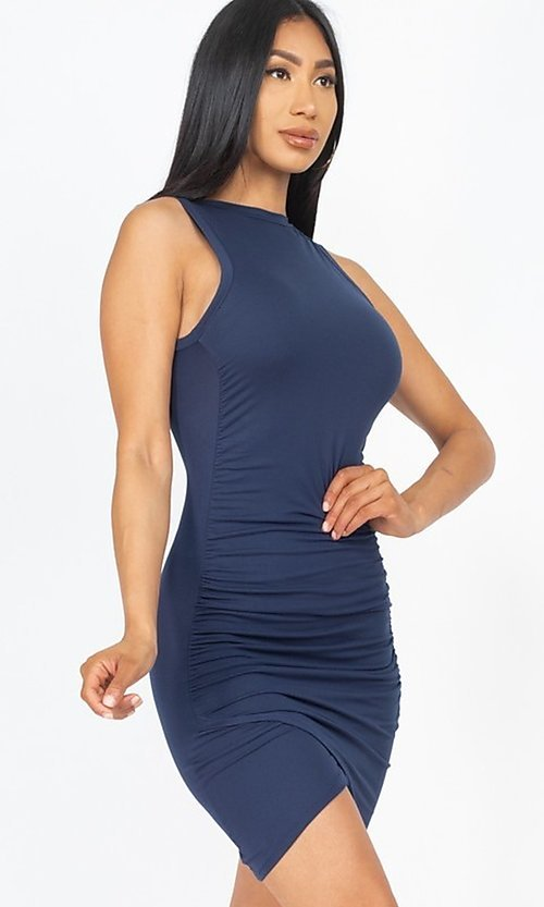 Image of ruched sleeveless short casual mini party dress. Style: LAS-CAP-21-BD2523 Detail Image 4