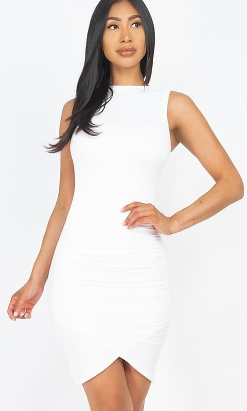 Image of ruched sleeveless short casual mini party dress. Style: LAS-CAP-21-BD2523 Detail Image 6