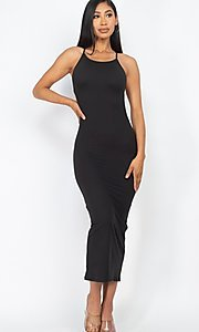 Image of tight open-back midi-length party dress. Style: LAS-CAP-21-BD3218 Detail Image 2