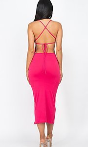 Image of tight open-back midi-length party dress. Style: LAS-CAP-21-BD3218 Detail Image 4