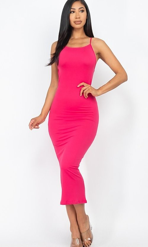 Image of tight open-back midi-length party dress. Style: LAS-CAP-21-BD3218 Detail Image 3