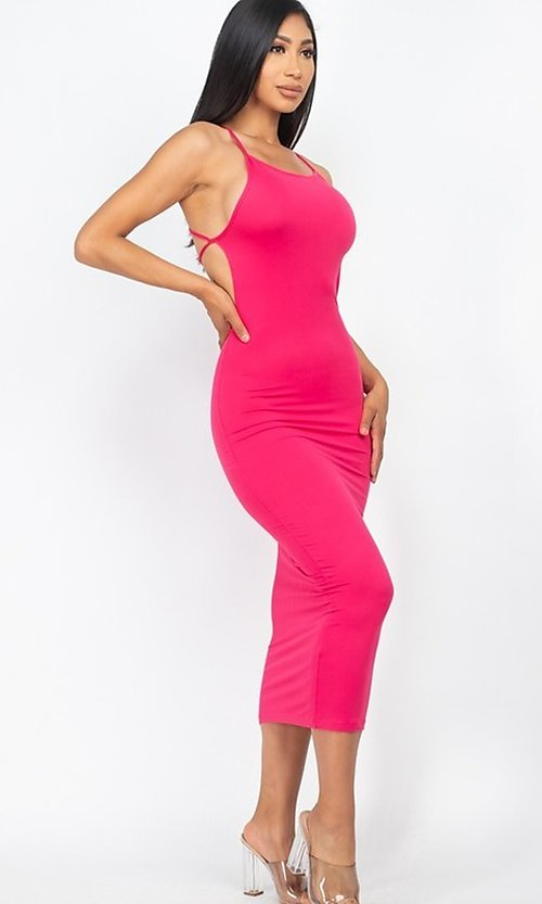 Image of tight open-back midi-length party dress. Style: LAS-CAP-21-BD3218 Detail Image 5