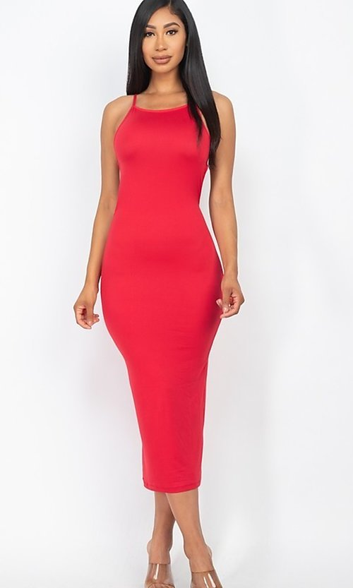 Image of tight open-back midi-length party dress. Style: LAS-CAP-21-BD3218 Back Image