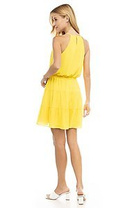 Image of casual short high-neck summer dress. Style: FG-NZB-21-SD115622 Back Image