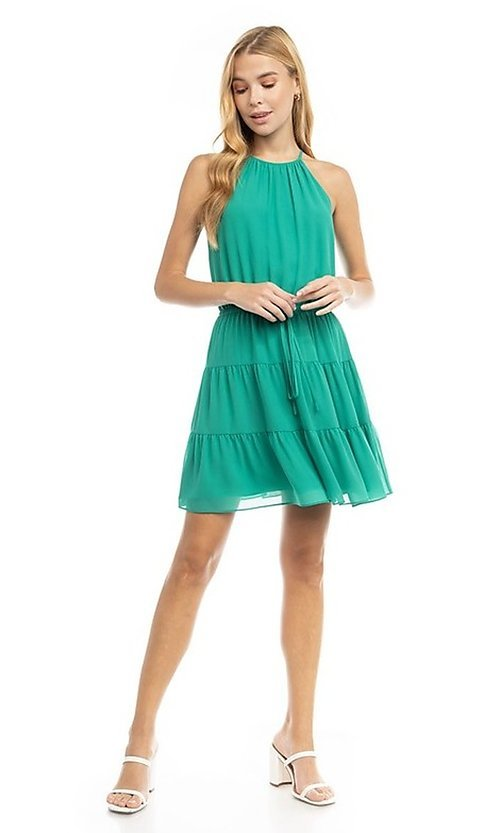 Image of casual short high-neck summer dress. Style: FG-NZB-21-SD115622 Detail Image 1